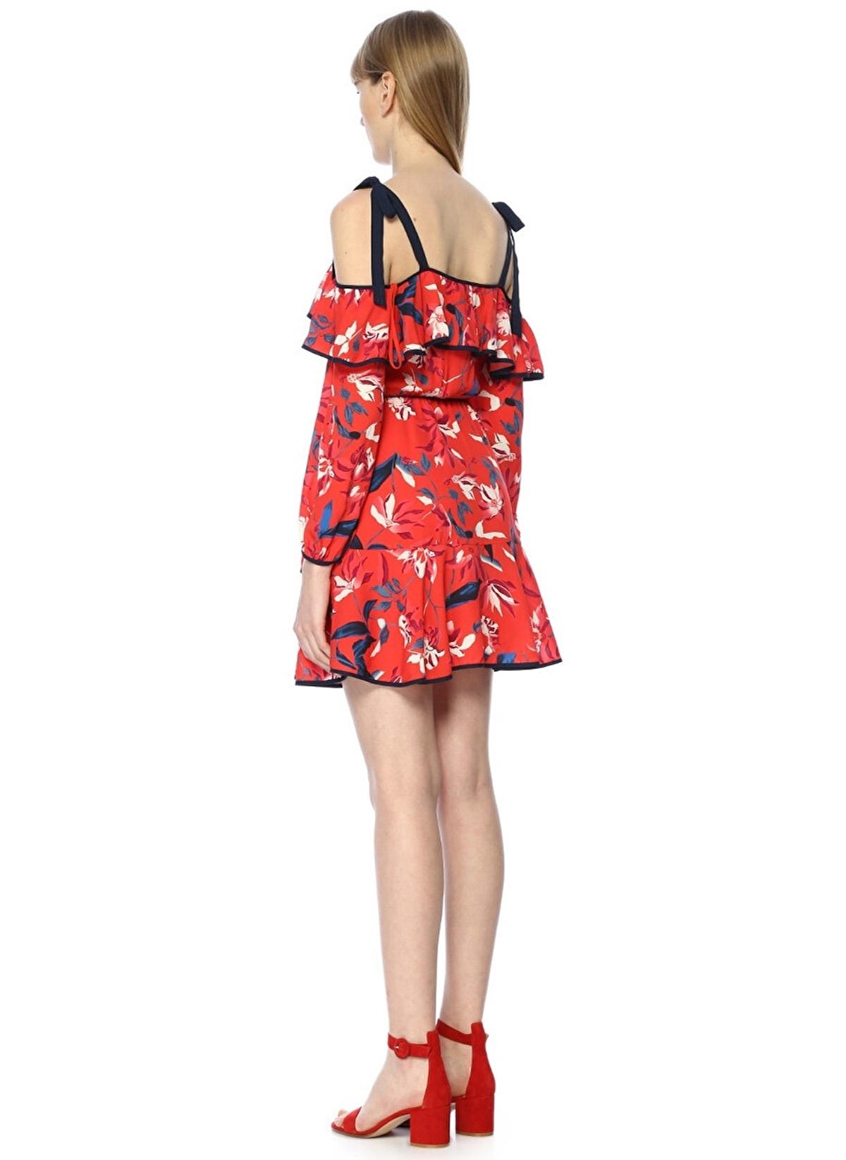 148fc5f99d2d2 Tanya Taylor Kadın Çiçekli Omzu Açık Mini İpek Elbise Çok Renkli ...